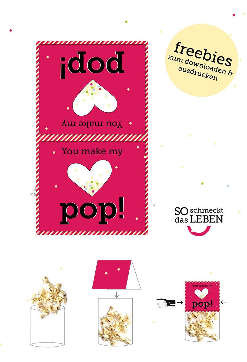 Valentinstag Popcorn Freebies