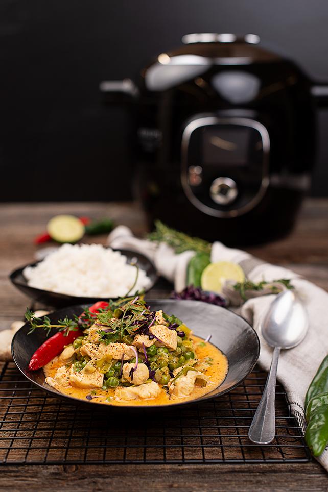 Hühnercurry mit Erbsen und Reis cookingCatrin Rezept Cook4Me+ Connect KRUPS