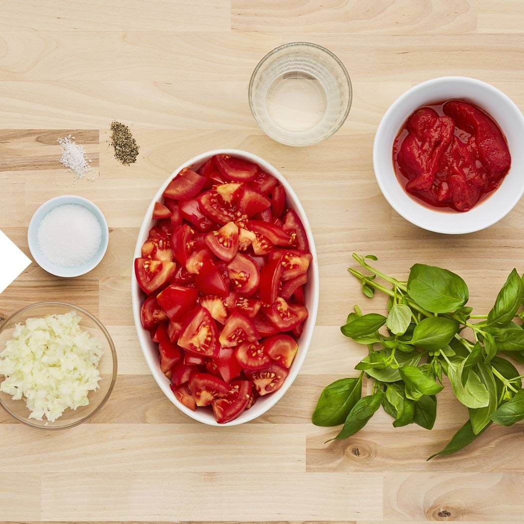 Suppen-Tomatensuppe-Zutaten