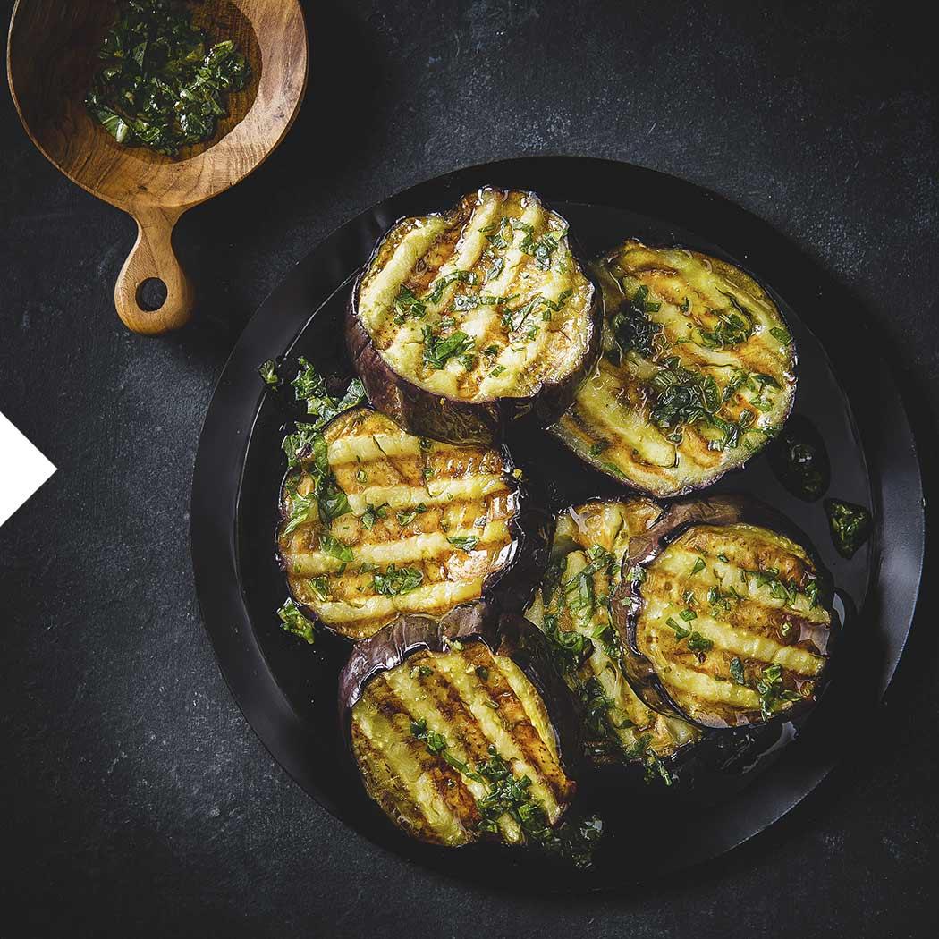 Kontaktgrill Grillen Vegan Gemüse Aubergine