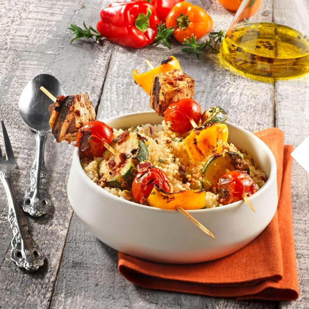 Kontaktgrill Grillen Vegan Gemüse Tomaten-Tofu-Spieße