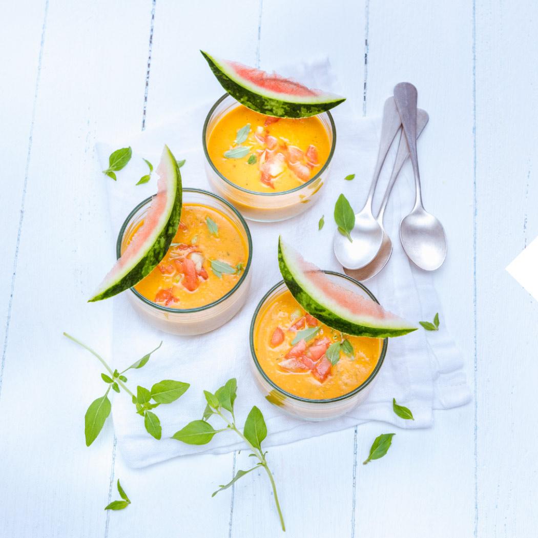Vegetarische Sommergerichte Wassermelone