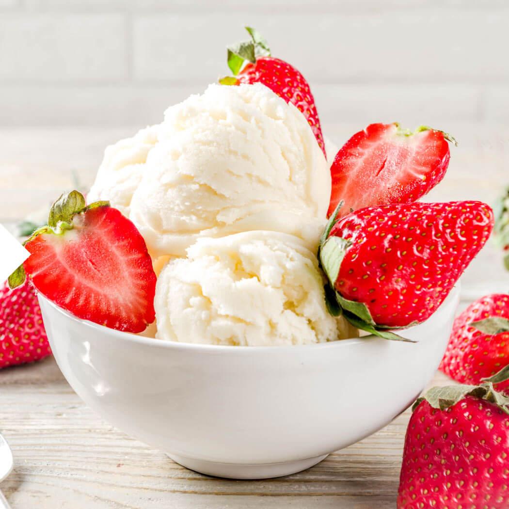 Eiscreme Erdbeeren