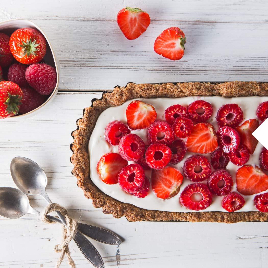 Obstkuchen Erdbeere Himbeere