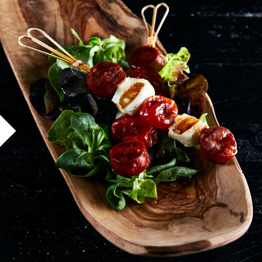 Grillen Snacks Fingerfood Tomate Halloumi